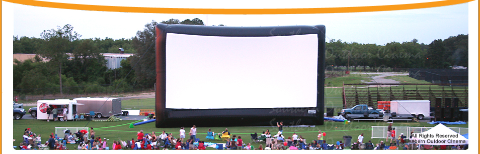 An outdoor movie event at a festival in South Georgia